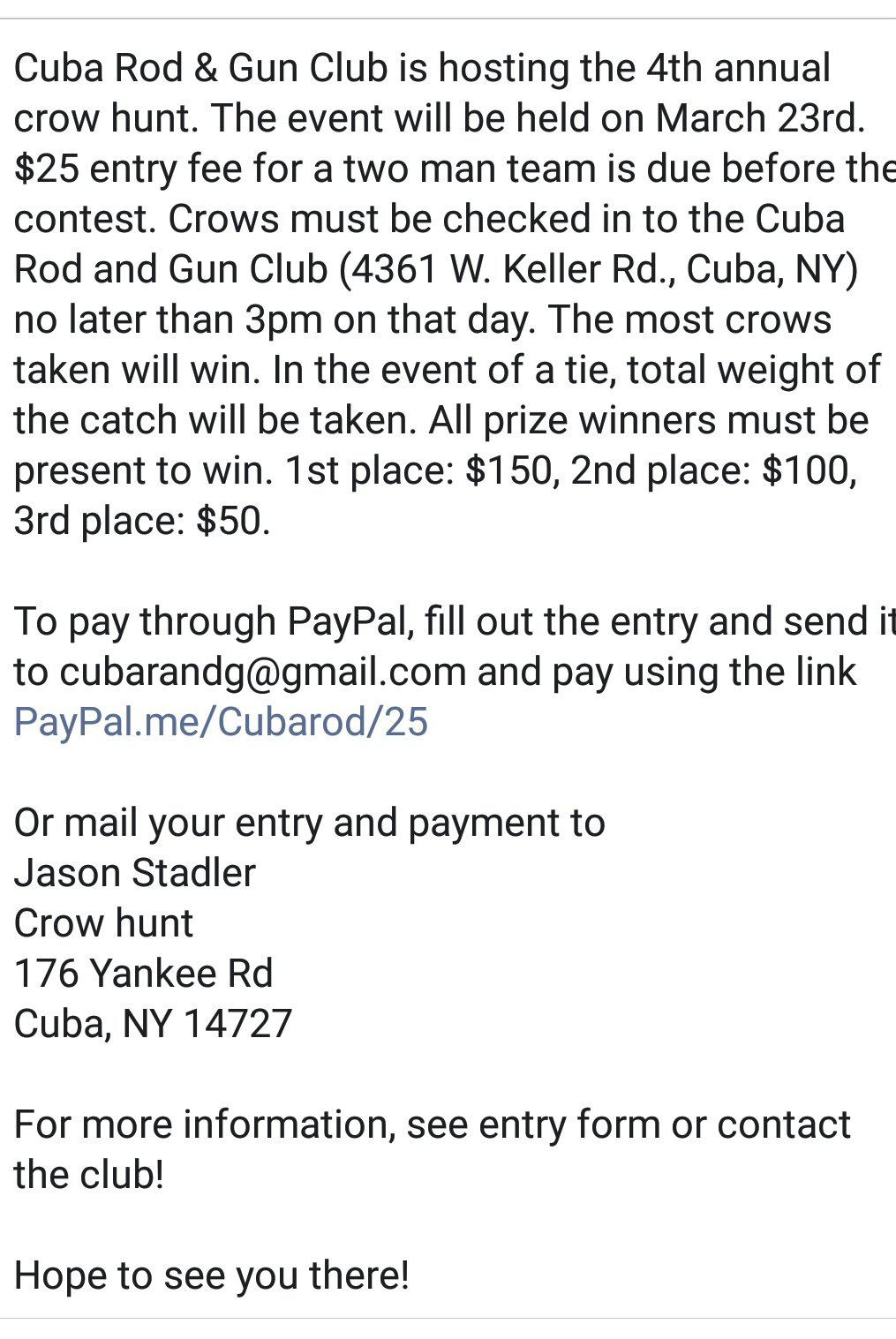4th annual Crow hunting contest - Small Game and Predator Hunting